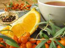 Tea with fruits of sea buckthorn and oranges Royalty Free Stock Images