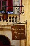 Tea Garden sign, Mdina. Stock Photo