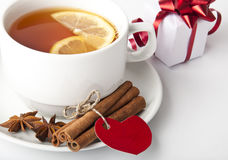 Tea and gift Stock Photography