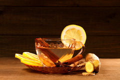 Tea with ginger, lemon and cinnamon Royalty Free Stock Photos
