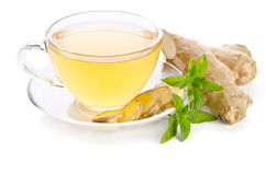Tea with Ginger Root. On white background Stock Photography