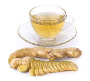 Tea with Ginger Root  on white background Stock Photo
