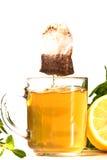 Tea glass. With tea bags and lemon Stock Images