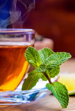 Tea in a glass bottle, mint leaves, dried tea, sliced lime, cane sugar Stock Photos