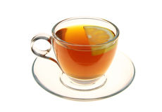 Tea in a glass cup with lemon slice Stock Photos