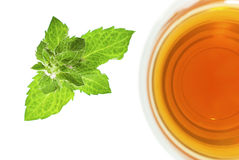 Tea in glass cup with mint leaf , top view Stock Photography