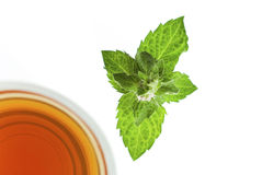 Tea in glass cup with mint leaf , top view Stock Images