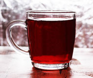 Tea in a glass cup stock photography