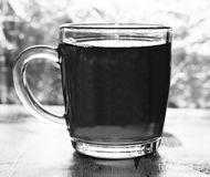 Tea in a glass cup stock image