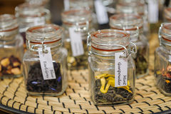 Tea in glass jars Stock Photo