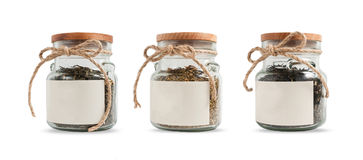 Tea in glass jars isolated on white background. Mockup label. Stock Photography