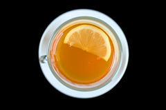 Tea glass with lemon slice. Top view. Royalty Free Stock Photos
