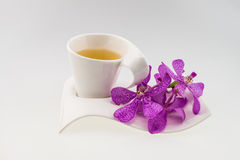 Tea glass and Pink mokara orchids isolated on white background Royalty Free Stock Image