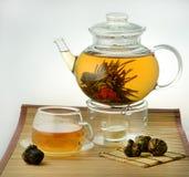 Tea is in a glass tea-pot stock photos