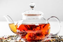 Tea in a glass teapot with a blooming large flower. Teapot with exotic green tea on a white background with scattered dried tea. With petals and pieces of fruit stock images