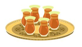 Tea Glasses And Arabian Decorated Tray 1. Arabian tea glasses on a golden/copper decorated round tray Royalty Free Illustration