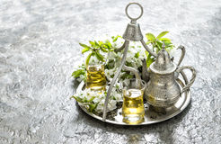 Tea glasses and pot. Oriental holidays decoration Stock Photography