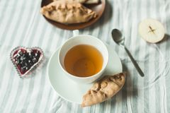 Tea at the grandmother`s, tea with pancakes and pies with apples Stock Photos