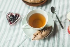 Tea at the grandmother`s, tea with pancakes and pies with apples Stock Image