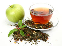 Tea and green apple Stock Photography