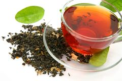 Tea and green leaf Royalty Free Stock Image
