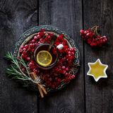 Tea with a guelder-rose and a lemon Stock Photos