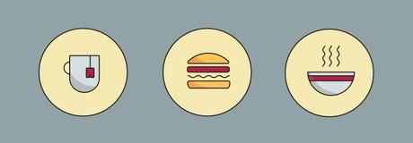 Tea, hamburger and soup Royalty Free Stock Image