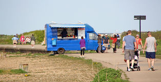 Tea and hamburger van at seaside Stock Photography