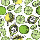 Tea hand draw seamless pattern with teapot, lemons and cup. Sketched textured background. Stock Photography