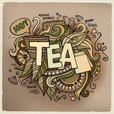 Tea hand lettering and doodles elements Stock Photo