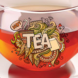 Tea hand lettering and doodles elements Royalty Free Stock Photo