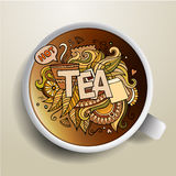 Tea hand lettering and doodles elements Stock Photography