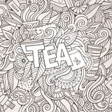 Tea hand lettering and doodles elements background Royalty Free Stock Photography