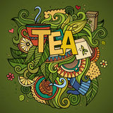 Tea hand lettering and doodles elements background Stock Photography