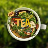 Tea hand lettering and doodles elements background Stock Image
