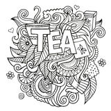 Tea hand lettering and doodles elements background Stock Photos