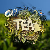 Tea hand lettering and doodles elements Royalty Free Stock Photography