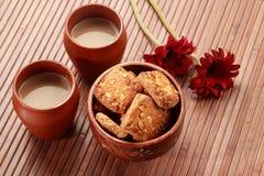 Tea in Handmade Indian Pottery Glass Mug Royalty Free Stock Image