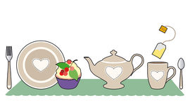 Tea with heart. Pleasant decoration of tea with pastry Royalty Free Illustration