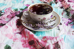 Tea and heather. Cup with floral tea and flowers of heather Stock Image