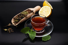 Tea. Herbal tea. Mint leaf. Tea in a glass cup, mint leaves, Stock Photo