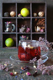 Tea from herbs with ginger, lemon in a rustic style Royalty Free Stock Photography