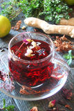 Tea from herbs with ginger, lemon in a rustic style Royalty Free Stock Photo