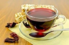Tea hibiscus with cereal crispbread Stock Image