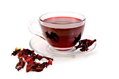 Tea hibiscus in glass cup Stock Image
