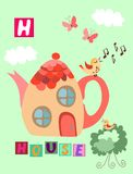 Tea history. Letter H. House. Cute cartoon english alphabet with colorful image and word. Royalty Free Stock Photography
