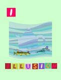 Tea history. Letter I. Illusion. Cute cartoon english alphabet with colorful image and word. Tea history. Cute cartoon english alphabet with colorful image and stock illustration