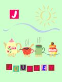 Tea history.  Letter J. Journey. Cute cartoon english alphabet with colorful image and word. Royalty Free Stock Photo