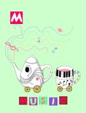 Tea history. Letter M. Music. Cute cartoon english alphabet with colorful image and word. Stock Photos