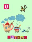 Tea history. Letter O. Outing. Cute cartoon english alphabet with colorful image and word. Royalty Free Stock Images